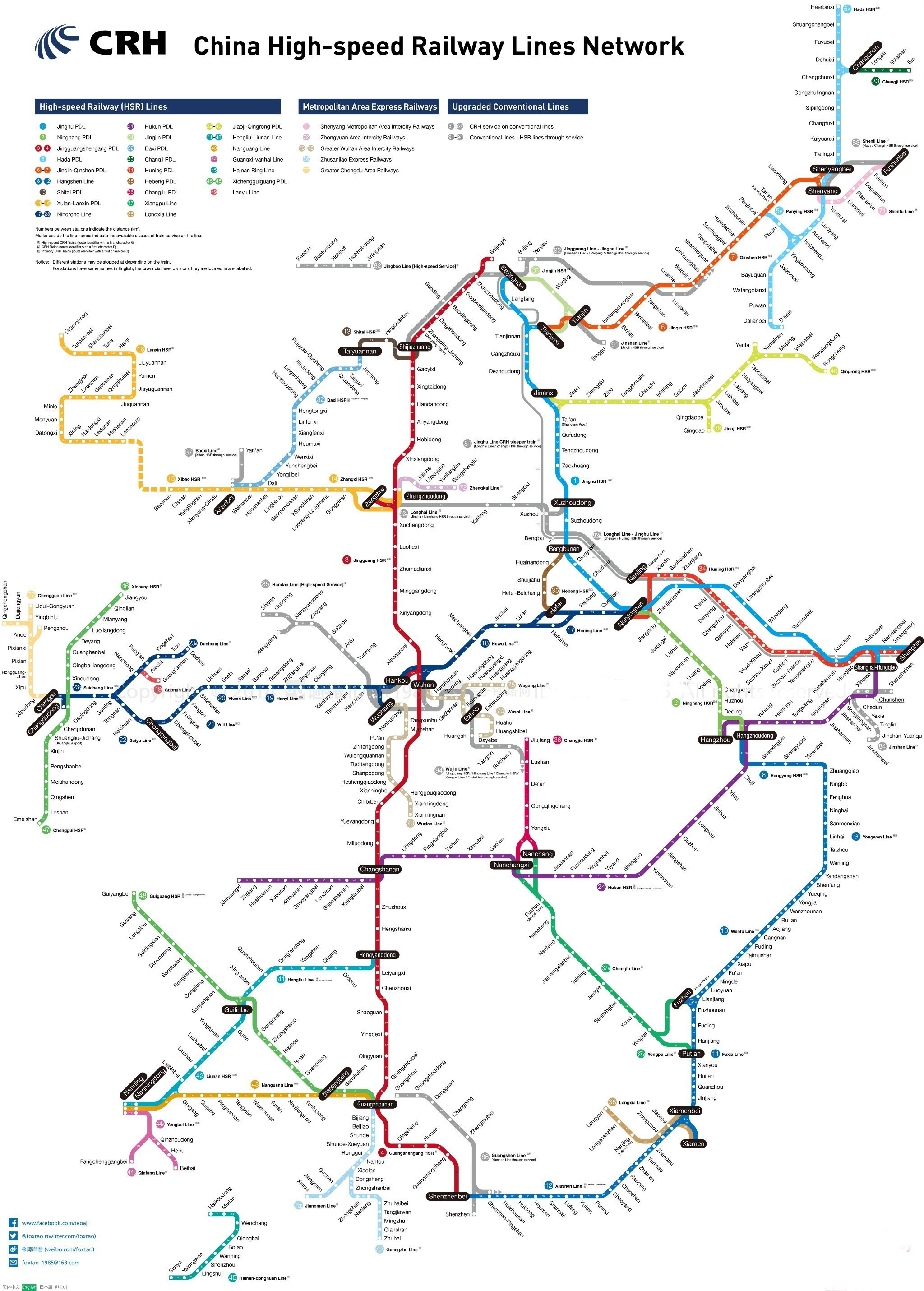 China High-rail Train Travel Map-Multilingual Versions