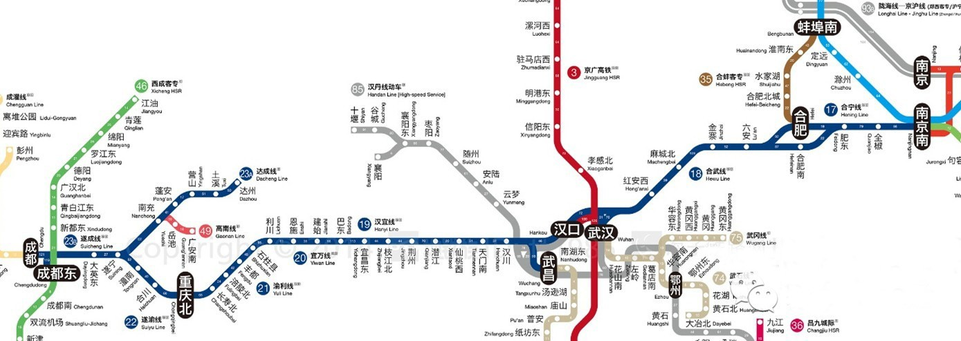 Nanjing to Chengdu High-rail Train Travel Map