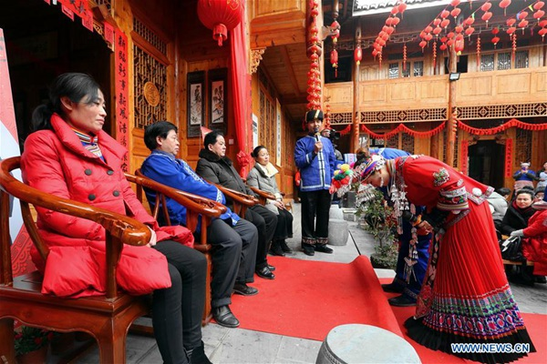 Traditional Miao ethnic group wedding ceremony held in Hunan